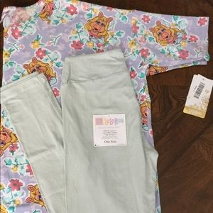 BNWT LuLaRoe OUTFIT Irma L & OS leggings mint teal